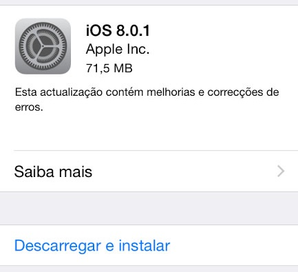 Apple lança update iOS 8.0.1… mas arrependeu-se!