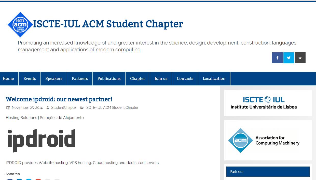A ipdroid associa-se ao ISCTE-IUL ACM Student Chapter