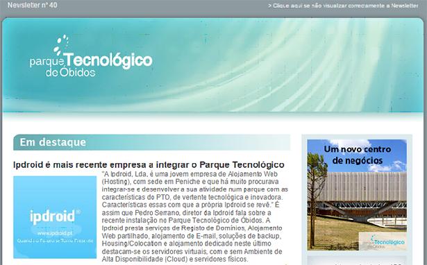 A Ipdroid na mais recente Newsletter do Parque Tecnológico de Óbidos