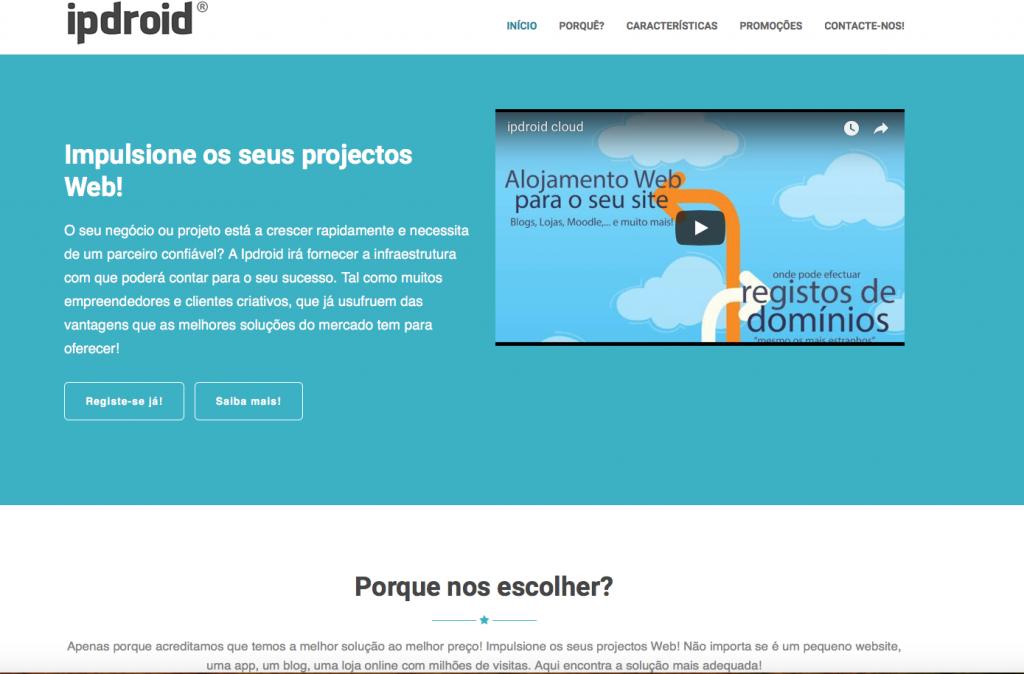 Área de Promoções de Alojamento Web da ipdroid